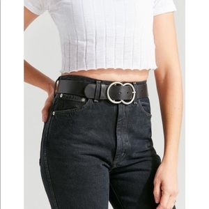 Urban outfitters double o ring leather black belt